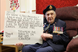 Vet's 100 Birthday Card campaign